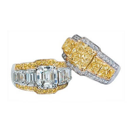 Charles Krypell Diamond Antique Style Platinum & 18k Yellow Gold Engagement Ring Settings