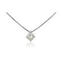 Leo Pizzo Diamond Solitaire 18k White Gold Pendant Necklace