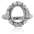 1.12ct Diamond 18k White Gold Halo Engagement Ring Setting