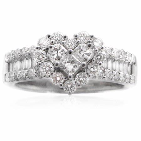 Diamond 18k White Gold Cluster Wedding Band Ring