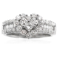 1.42ct Diamond 18k White Gold Cluster Wedding Band Ring