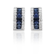 .47ct Diamond & Blue Sapphire 18k White Gold Huggie Earrings
