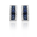 Diamond & Blue Sapphire 18k White Gold Huggie Earrings