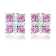 .32ct Diamond and Pink Sapphire 18k White Gold Earrings