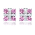 Diamond and Pink Sapphire 18k White Gold Earrings