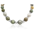 5.74ct Diamond and Pearl 18k White Gold Graduated Necklace