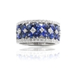 .69ct Diamond and Blue Sapphire 18k White Gold Wedding Band Ring