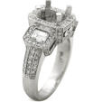 1.52ct Diamond Antique Style Platinum Halo Engagement Ring Setting