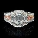 Charles Krypell Diamond Platinum and 18k Pink Gold Engagement Ring