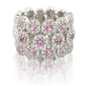 Diamond and Pink Sapphire 18k White Gold Wedding Band Ring