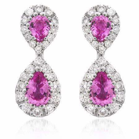 Diamond and Pink Sapphire 18k White Gold Drop Earrings