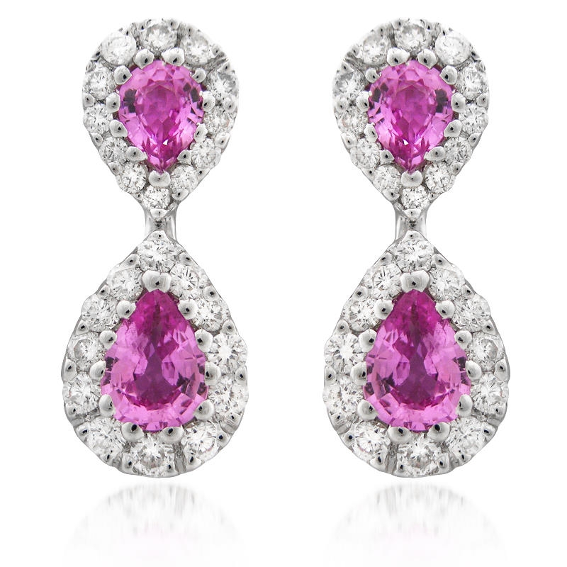 78ct diamond and pink sapphire 18k white gold drop earrings