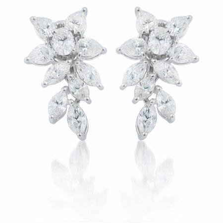 Diamond 18k White Gold Floral Earrings