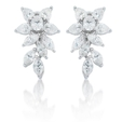 5.06ct Diamond 18k White Gold Floral Earrings