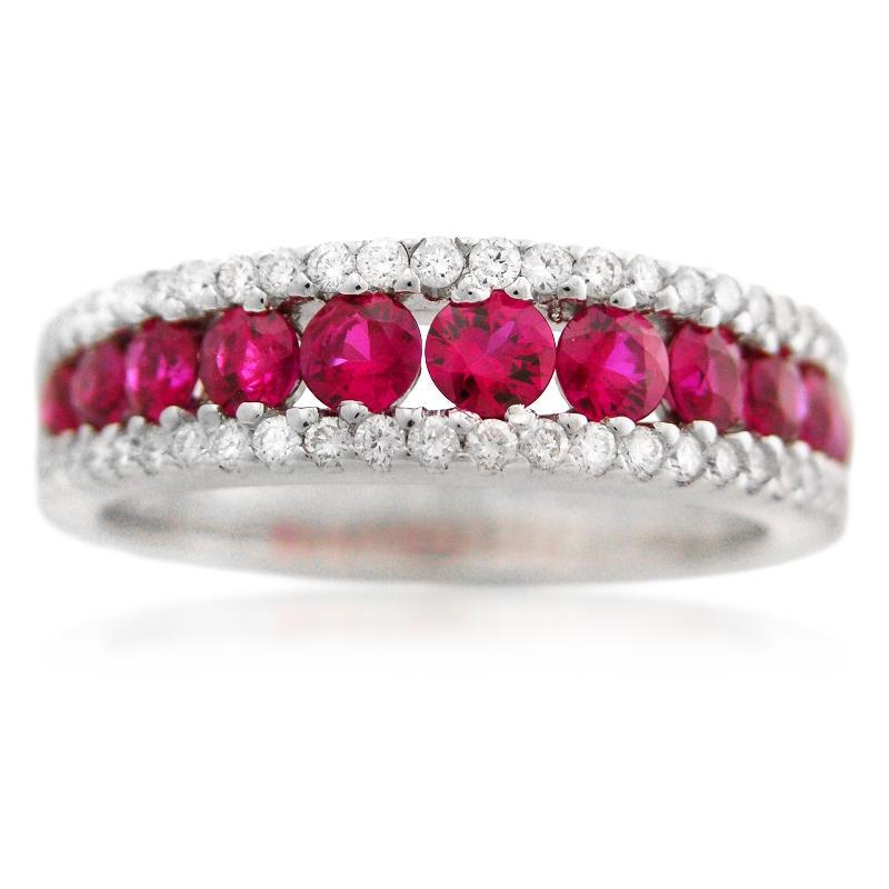 145842e6c0702 .36ct Diamond and Ruby 18k White Gold Wedding Band Ring