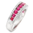 .36ct Diamond and Ruby 18k White Gold Wedding Band Ring