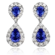 .76ct Diamond and Blue Sapphire 18k White Gold Drop Earrings