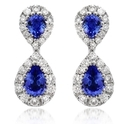 Diamond and Blue Sapphire 18k White Gold Drop Earrings