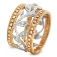 1.04ct Simon G Diamond Antique Style 18k Two Tone Gold Wedding Band Ring