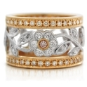 Simon G Diamond Antique Style 18k Two Tone Gold Wedding Band Ring