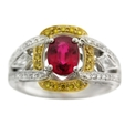 .46ct Simon G Diamond and Ruby Antique Style 18k Two Tone Gold Ring