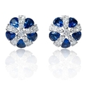 Diamond and Blue Sapphire 18k White Gold Earrings
