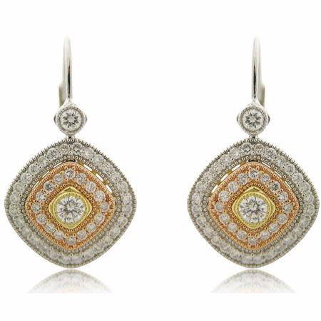 Simon G Diamond Antique Style 18k Three Tone Gold Dangle Earrings