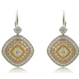 .62ct Simon G Diamond Antique Style 18k Three Tone Gold Dangle Earrings