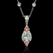 Charles Krypell Diamond Antique Style Platinum & 18k Rose Gold Pendant Necklace