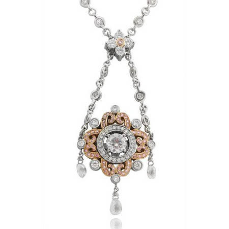 Charles Krypell Diamond Antique Style Platinum & 18k Pink Gold Necklace