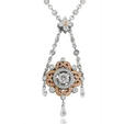 3.73ct Charles Krypell Diamond Antique Style Platinum & 18k Pink Gold Necklace