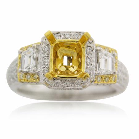 Diamond Antique Style 18k Two Tone Gold Halo Engagement Ring Setting