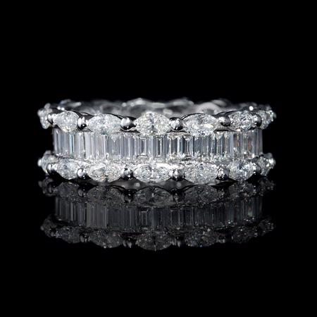 Diamond Marquise and Baguette Cut Platinum Eternity Wedding Band Ring