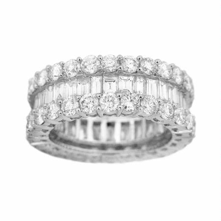Diamond 5.42 carats Baguette and Brilliant Cut 18k White Gold Eternity Wedding Band Three Row Ring