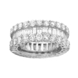 5.42ct Diamond Baguette and Brilliant Cut 18k White Gold  Eternity Wedding Band Three Row Ring