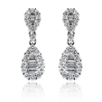 1.10ct Diamond 18k White Gold Dangle Earrings