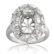 1.18ct Diamond 18k White Gold Halo Engagement Ring Setting