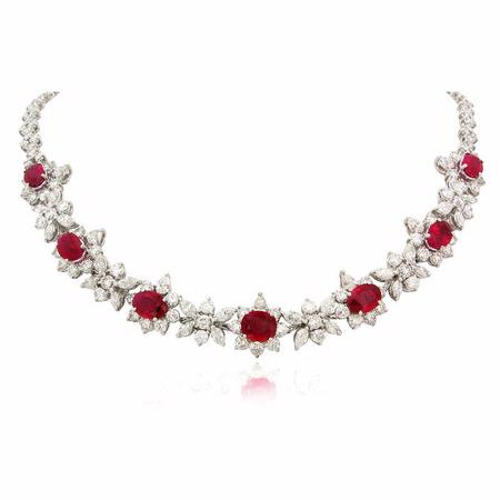 Diamond and Ruby Platinum Necklace