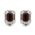 1.92ct Diamond and Thai Ruby 18k White Gold Cluster Earrings