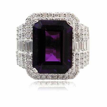 Diamond and Amethyst 18k White Gold Ring