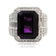 2.01ct Diamond and Amethyst 18k White Gold Ring