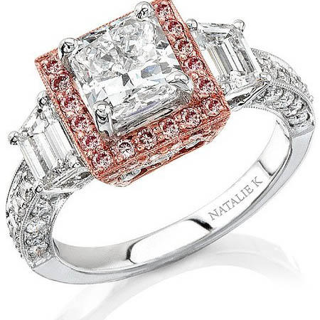Natalie K Diamond Antique Style Platinum and 18k Pink Gold Halo Engagement Ring Setting