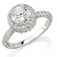 Natalie K Diamond Platinum Halo Engagement Ring Setting