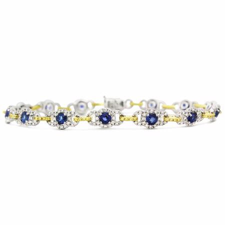 Simon G Diamond and Blue Sapphire 18k Two Tone Gold Bracelet
