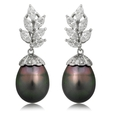 2.49ct Diamond and South Sea Pearl 18k White Gold Dangle Earrings