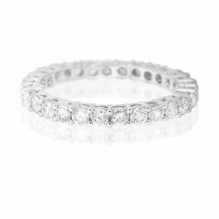 Diamond 1.11 Carat 18k White Gold Eternity Wedding Band Ring