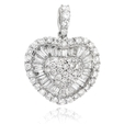 1.41ct Diamond 14k White Gold Heart Pendant