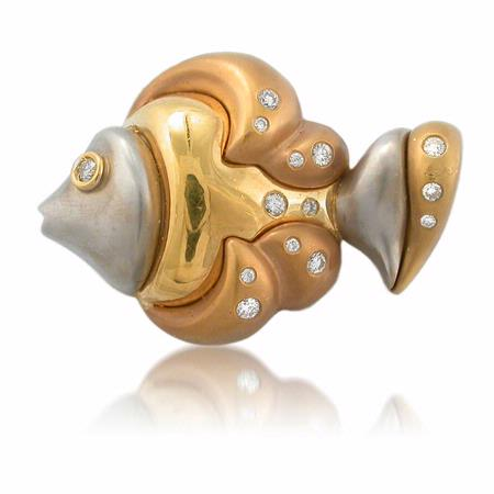 Diamond 18k Yellow Gold Fish Brooch Pin