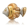 .35ct Diamond 18k Yellow Gold Fish Brooch Pin