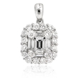 1.26ct Diamond 18k White Gold Cluster Pendant
